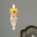 1/2-Head Wall Mounted Fixture Antique Pottery Amber Glass Sconce Lighting in Gold with Crystal Accent