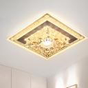 Polygon/Square Clear Crystal Flushmount Minimalist LED Foyer Flush Mount Recessed Lighting