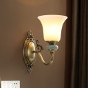 Rustic Flared Wall Mount Lamp 1/2 Lights Frosted Glass Sconce Light Fixture in Brass