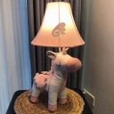 Unicorn Fabric Nightstand Light Cartoon 1 Bulb Pink Night Table Lamp with Flared Shade