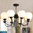 8 Lights White Glass Chandelier Lamp Traditional Black Ball Pendant Lighting Fixture