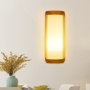 Cylindrical Kitchen Wall Lamp Frosted White Glass 1 Bulb Asian Style Sconce Light in Wood