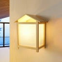 White House Flush Mount Wall Sconce Nordic 1-Light Wood Wall Mounted Fixture for Bedroom