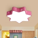 Star Flushmount Lighting Kids Acrylic Pink/Blue LED Flush Mount Light Fixture for Kindergarten