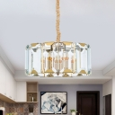 6-Bulb Clear Crystal Chandelier Postmodern Gold Drum Dining Room Hanging Ceiling Light