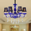 6 Bulbs Candelabrum Chandelier Retro Blue Glass-Coated Curved Tube Arm Pendant Ceiling Light with/without Lamp Shade
