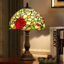 Cut Glass Bronze Night Table Lighting Bowl 1-Head Mediterranean Rose Patterned Desk Light