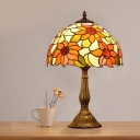 Sunflower Patterned Night Lamp Victorian Hand Cut Glass 1-Light Dark Brown Table Lighting with Bowl Shade