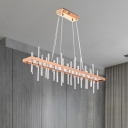 Rectangular Crystal Rod Island Lamp Modern LED Restaurant Pendant Light Fixture in Gold