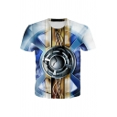 Cool Geo 3D Printed Short Sleeve Crew-neck Regular Fitted Tee Top in Blue