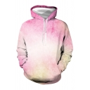 Fashionable Mens Ombre Long Sleeve Drawstring Loose Fit Hoodie with Pocket