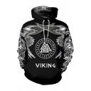 Creative Letter Viking Eagle Geo Graphic Long Sleeve Drawstring Kangaroo Pocket Loose Hoodie in Black