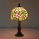 Rose Hand Cut Glass Night Table Lighting Tiffany 1-Bulb Pink/Purple and Red Desk Lamp with Dome Shade