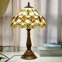 1 Light Scalloped Shade Table Light Tiffany Style Bronze Stained Glass Jeweled Nightstand Lamp