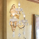 Candelabra Living Room Sconce Vintage Crystal 3 Lights Gold Wall Light with Fish-Shaped Arm
