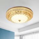 Round Living Room Ceiling Light Contemporary Milk Glass Gold Crystal LED Flush Mount Lamp