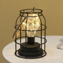 Modern Bottle Lantern Nightstand Lamp Iron Bedside USB/Battery LED Table Light in Black with Stranded Rope Handle