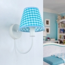 Conical Swag Sconce Light Modern Tartan Fabric Single Blue and White Wall Mounted Lamp