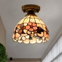 1-Light Flush Mount Lamp Tiffany Style Pink/Orange/Beige Glass Camellia/Peony/Flower Ceiling Light for Corridor