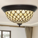 Fishscale Patterned Bowl LED Ceiling Lamp Tiffany-Style Beige Cut Glass Flush Light Fixture