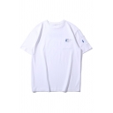 Chinese Letter Printed Chest Pocket Short Sleeve Crew Neck Loose Chic T Shirt for Guys