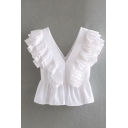 Hot Womens Ruffled Trim Sleeveless V-neck Button up Fitted Blouse Top in White