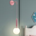 Macaron Ball Wall Hanging Light White/Clear Hammered/Clear Textured Glass Single Bedside Wall Mounted Fixture in Pink