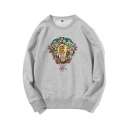 Street Boys Letter Cartoon Graphic Long Sleeve Crew Neck Loose Fit T Shirt