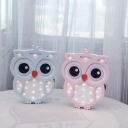 Cartoon Cute Owl Mini Night Light Wooden Kids Bedroom LED Wall Sconce Lighting in Blue/Pink