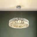 Modernist Hoop Pendulum Light 8-Light Faceted Crystal Block Ceiling Chandelier in Chrome