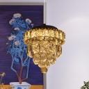 LED Hanging Light Kit Modernist Tapered Clear Beveled Crystal Suspension Lamp in Chrome