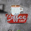 Vintage Coffee/Bottle Signboard Wall Lamp Metal Cafe Bar Handmade LED Night Table Light in White/Red