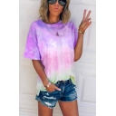 Casual Girls Tie Dye Printed Short Sleeve Crew Neck Ombre Loose T-shirt