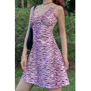 Fashionable Purple All-over Zebra Stripe V Neck Sleeveless Short Slip Dress for Women