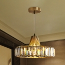 Simple Ring Pendant Lighting 1 Head Rectangle-Cut Crystal LED Ceiling Hang Fixture in Gold