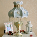 Single Hand-Embroidered Fabric Night Lamp European Garden Blue-Green Royal Dress Bedroom Table Light with Beaded Drape