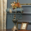 Dark Blue 1-Light Table Lamp Pastoral Style Floral Fabric Vase Shade Nightstand Light with Drape and Rose Decor