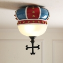 Resin Inverted Crown Flush Mount Kids Style 2 Bulbs Blue and Red Ceiling Light with Dome Milk Glass Shade