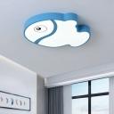 Fish Flush Ceiling Light Fixture Kids Acrylic LED Bedroom Ceiling Flush Mount in White/Blue