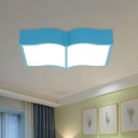 Book Kindergarten Ceiling Light Acrylic LED Kids Flush Mount Lighting Fixture in Red/Yellow/Blue
