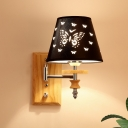 Conical Fabric Sconce Light Kids 1/2-Bulb Black Wall Lamp with Butterfly Pattern and Wood Backplate