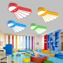 Kids Badminton Flushmount Light Iron Kindergarten LED Close to Ceiling Lighting in Blue/Red/Yellow