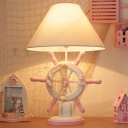 Green/Pink Ship Rudder Night Light Nautical 1-Light Wood Table Lighting with Wide Cone Fabric Lampshade
