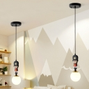 Soldier Pendant Ceiling Light Cartoon Resin Single Black Hanging Lamp with Orb Cream Glass Lamp Shade