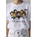 Summer Girls White Letter Frienuts Cartoon Figures Graphic Short Sleeve Crew Neck Loose T Shirt