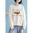 Leisure Womens Letter My Sandwich Graphic Long Sleeve Crew Neck Loose Sweatshirt in White