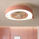 Metal Fish-Shape Ceiling Fan Light Macaron LED Semi Flush Mounted Lamp Fixture in Pink/Blue, 21.5