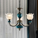 Blossom Clear Prism Glass Pendant Chandelier Rustic 3/6 Bulbs Living Room Hanging Ceiling Light in Black and Blue