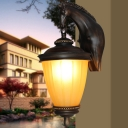 Dark Coffee 1-Light Wall Lighting Fixture Classic Yellow Glass Conic Wall Lamp with Resin Horse Backplate