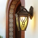 Yellow Glass Lantern Wall Lighting Ideas Rustic 1 Bulb Outdoor Sconce Light in Coffee